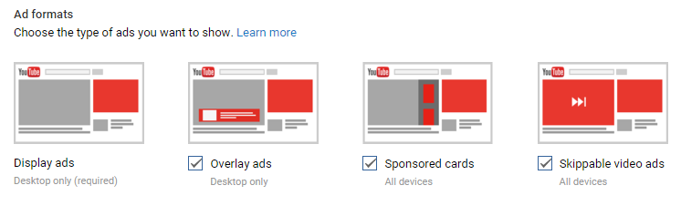 typy reklam na YouTube